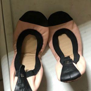 Yosi Samra Pink and Black Ballet Shoes